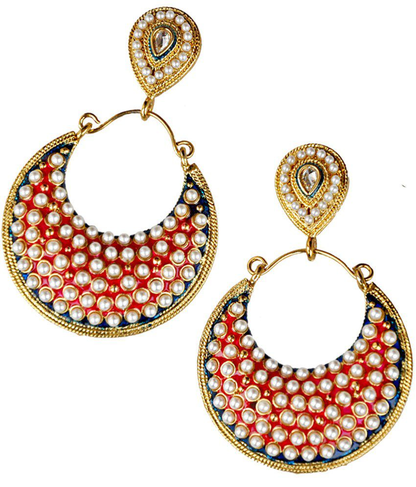 Maayra Posh Red Wedding Dangler Earrings