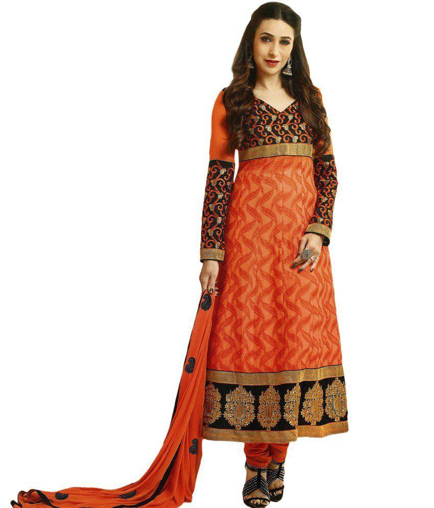 Lavanya Fashions Orange Faux Georgette Unstitched Dress Material