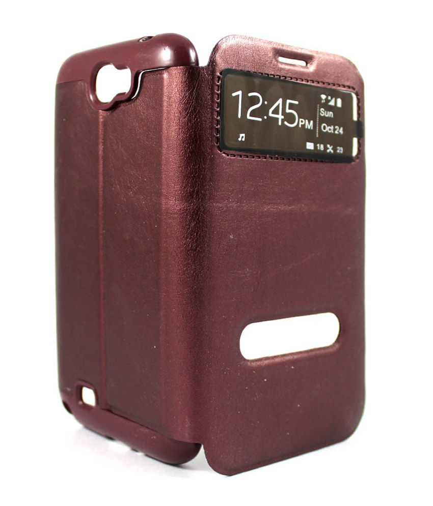 ManRo Flip Covers for Samsung Galaxy Note 2 - Brown