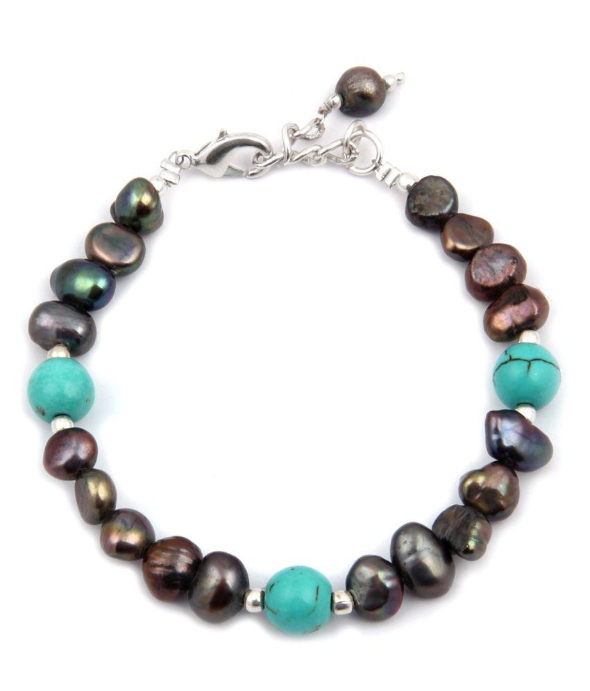 Pearlz Ocean Black Beauty Fresh Water Pearl & Howlite Bead 7.5 Inch Bracelet