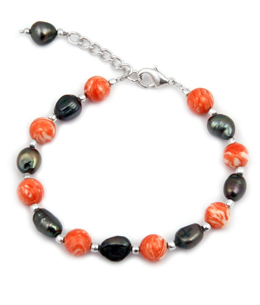 Pearlz Ocean Sunshine Daisy Fresh Water Pearl & Mosaic Bead 7.5 Inch Bracelet