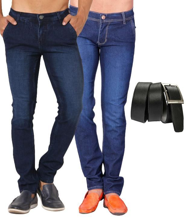 Skeeper Blue Slim Fit Combo of 2   Jeans with Belt