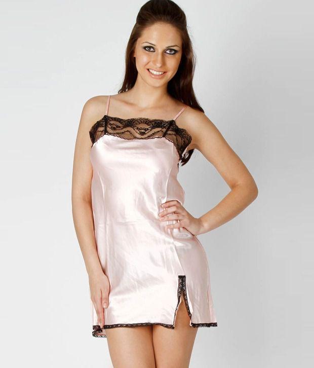 362436 Pink Silk Short Baby Doll Dresses