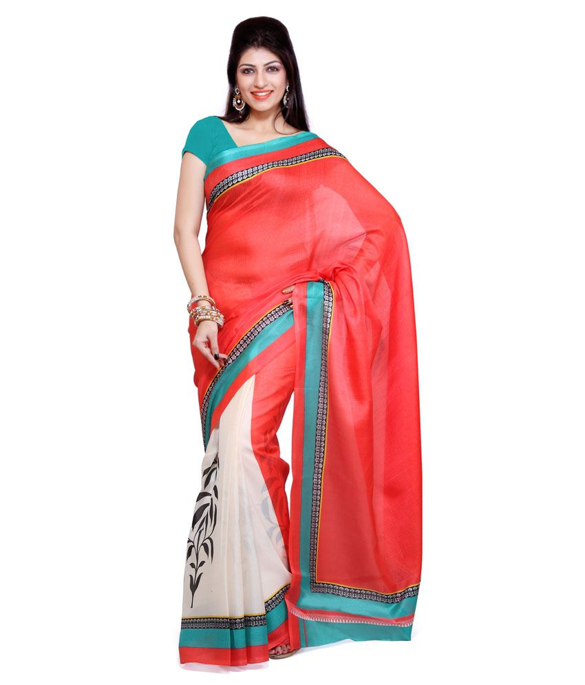 87aa1336bf8 Ishin Red Bhagalpuri Silk Saree - Buy Ishin Red Bhagalpuri Silk Saree Online  at Low Price - Snapdeal.com