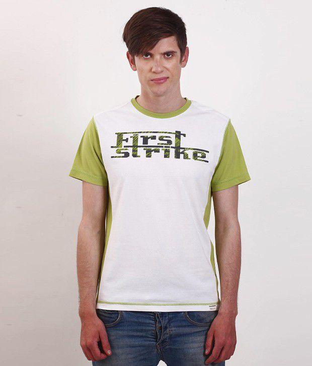 SMOKESTACK Green Half Cotton Round  T-Shirt