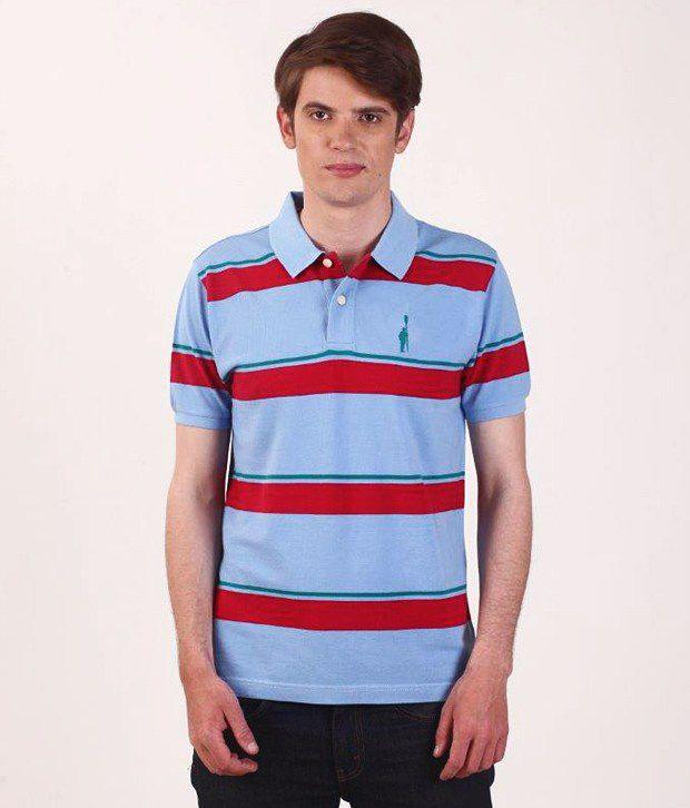 SMOKESTACK Red Half Cotton High Neck  T-Shirt