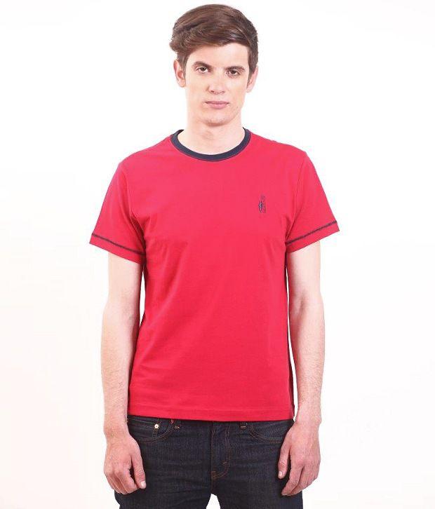 SMOKESTACK Red Half Cotton Round  T-Shirt