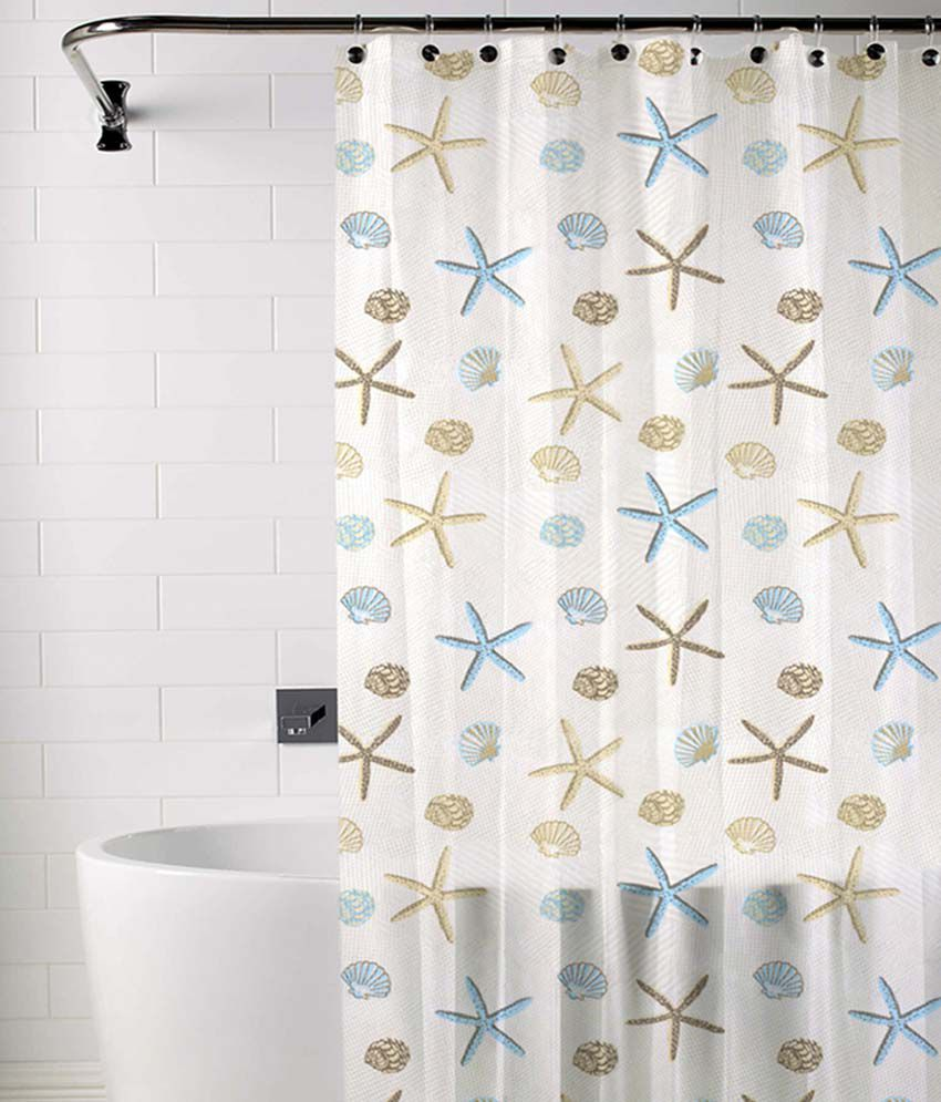 Skipper Blue And Beige Polyester Shower Curtain