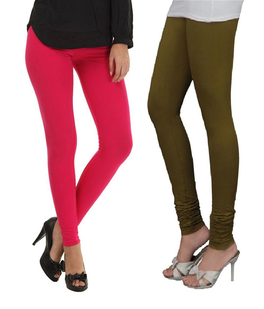 f5a2b2df97208 Stylobby Hot Pink And Olive Green Viscose Pack Of 2 Leggings Price in India  - Buy Stylobby Hot Pink And Olive Green Viscose Pack Of 2 Leggings Online  at ...