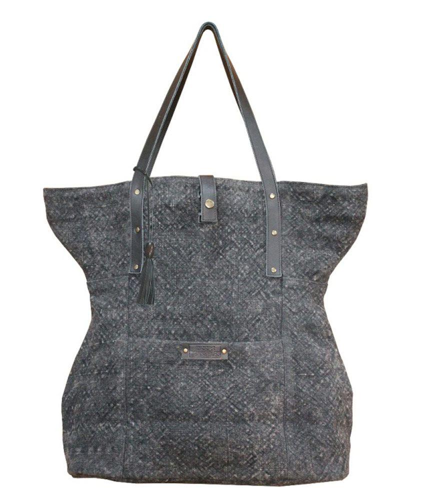 Wardrobe Black Nappa Washed Jute Shoulder Bag