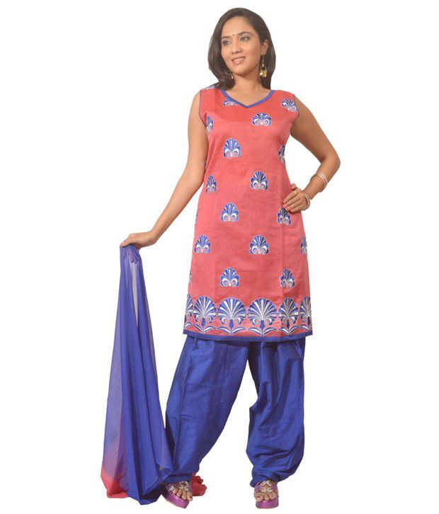 Idha Pink Embroidered Cotton Stitched Straight Fit  Salwar Suit