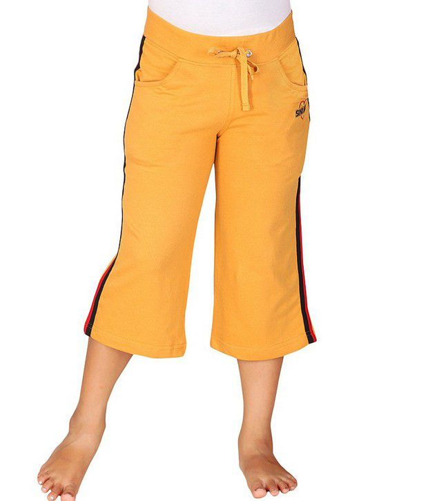 SINIMINI Yellow Capris For Girls