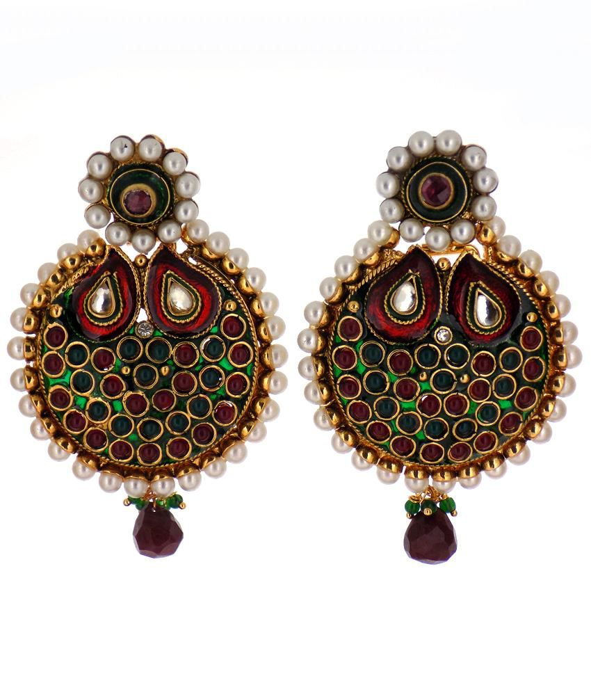 Aabhushan Jewels Gold Plated Multi Color Stone Look Earrings For Woman AJE-187