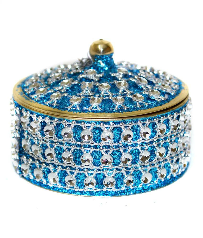 Frestol Multicolour Brass Fancy Round Jewellery Box