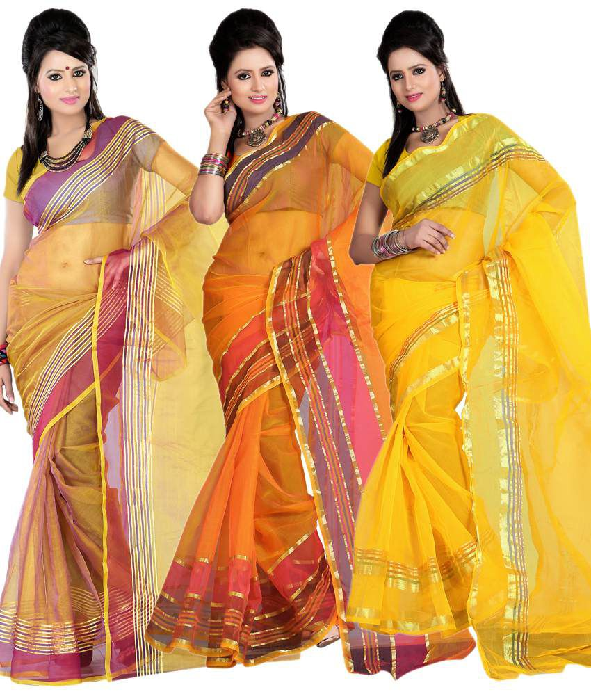 Pooja Prints Stunning Multi-colour Faux Tissue Sarees Pack Of 3