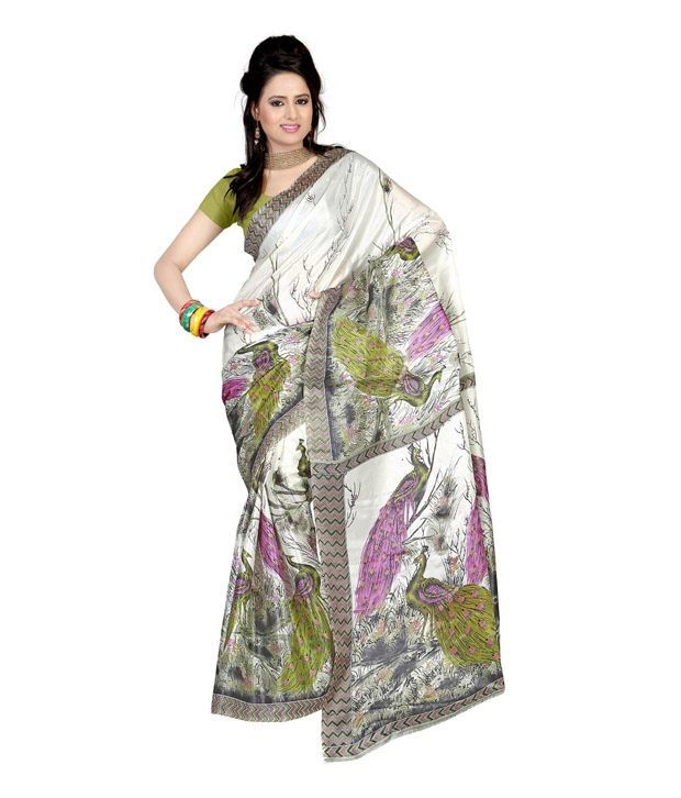 Ambaji White Printed Art Silk Saree