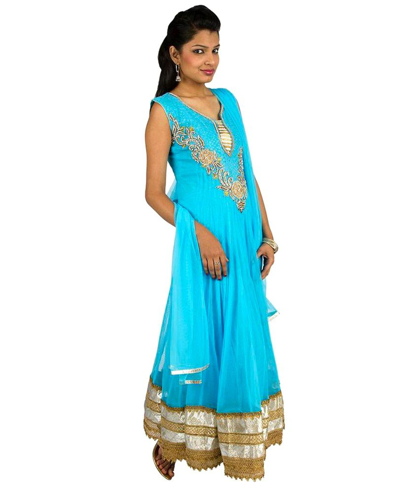 Fashiontra Blue Embroidered Net Stitched Anarkali Salwar Suit