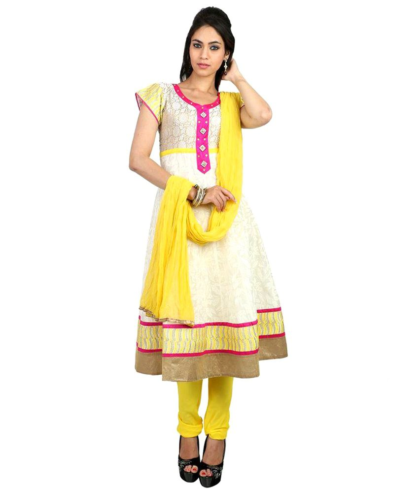 Fashiontra White,Yellow Embroidered Cotton Stitched Anarkali Salwar Suit