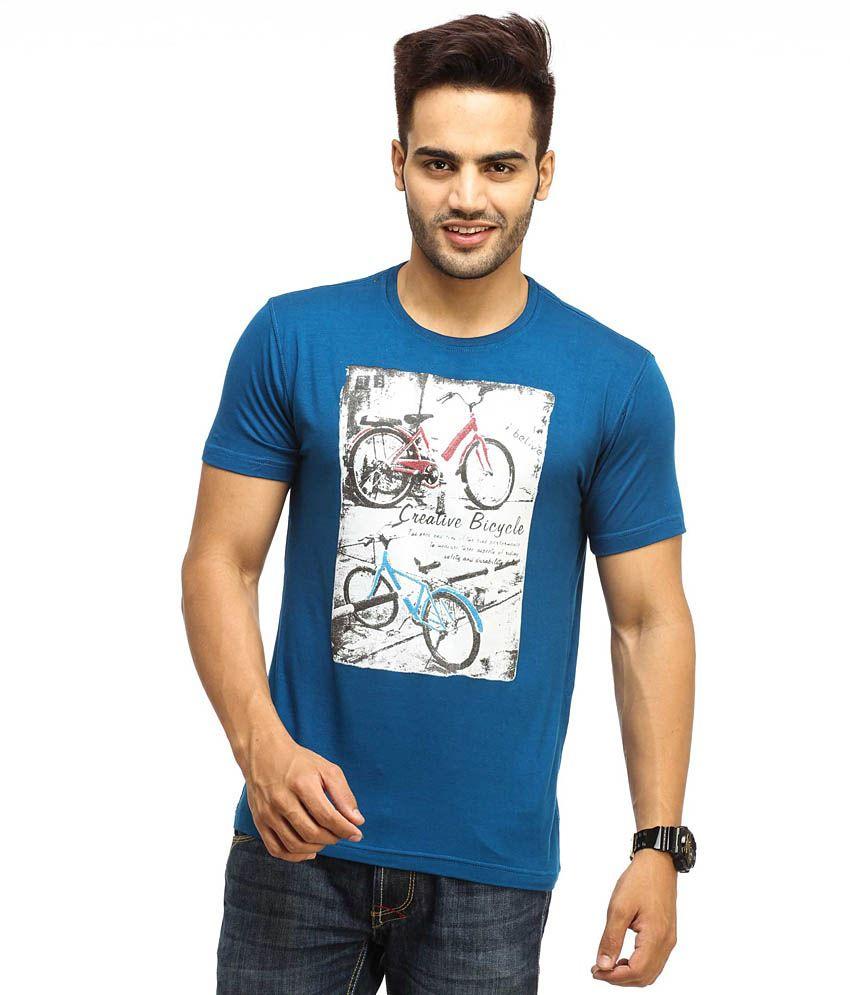 Gesture Blue Cotton  T-Shirt