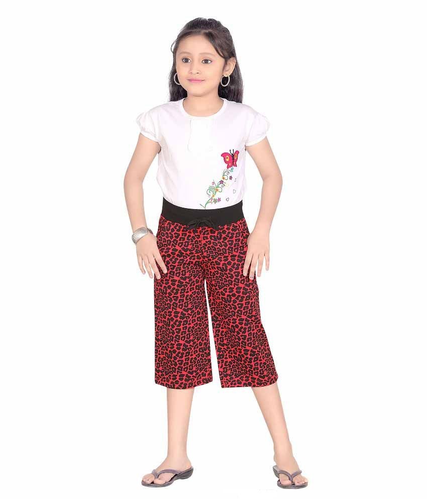 SINIMINI GIRLS REDDOTPRINT ATTRACTIVE PRINTED CAPRI