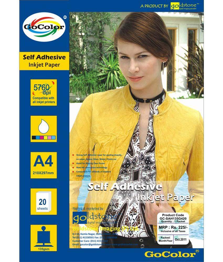 GoColor Self Adhesive Inkjet Photo Paper 135 GSM 60 Sheet A4 Size