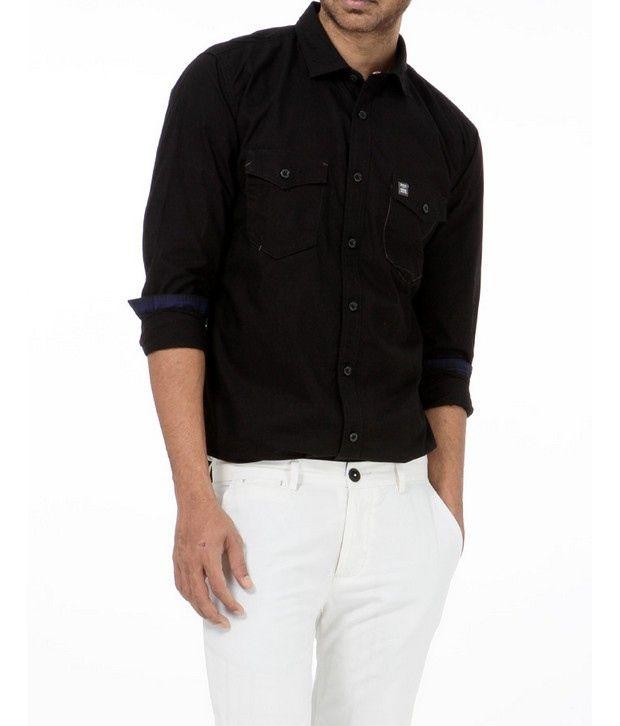 Basics 029 Black Solid Shirt