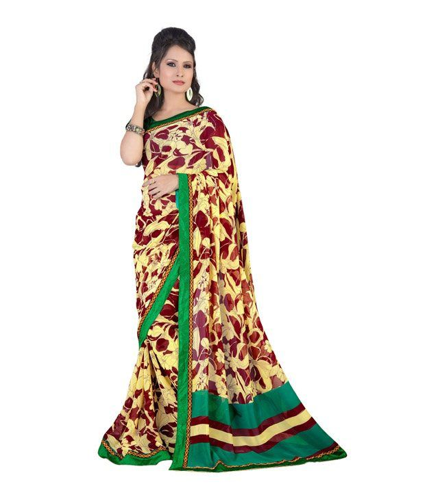 Fabdeal Maroon Faux Georgette Saree