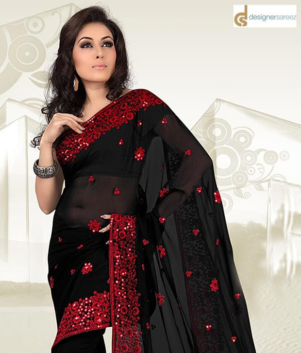Designersareez Black-Red Saree