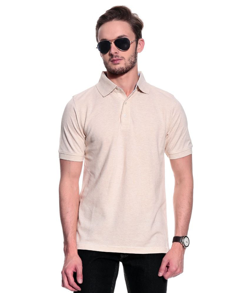 T10 Sports Beige Cotton Polo T-Shirt