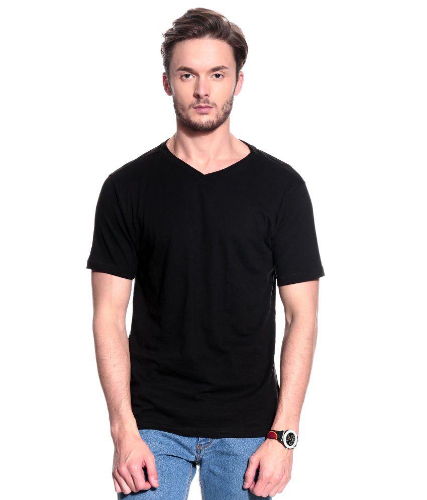T10 Sports Black Half Cotton V-Neck  T-Shirt