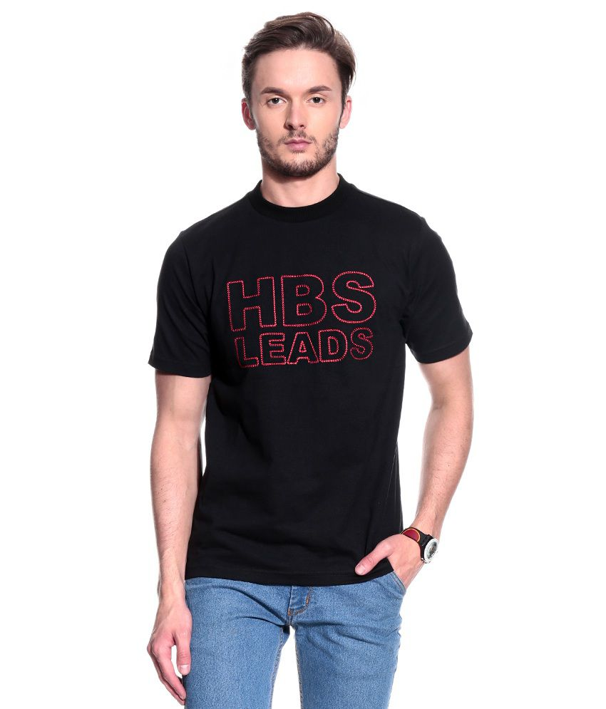 T10 Sports Black Half Cotton Round  T-Shirt
