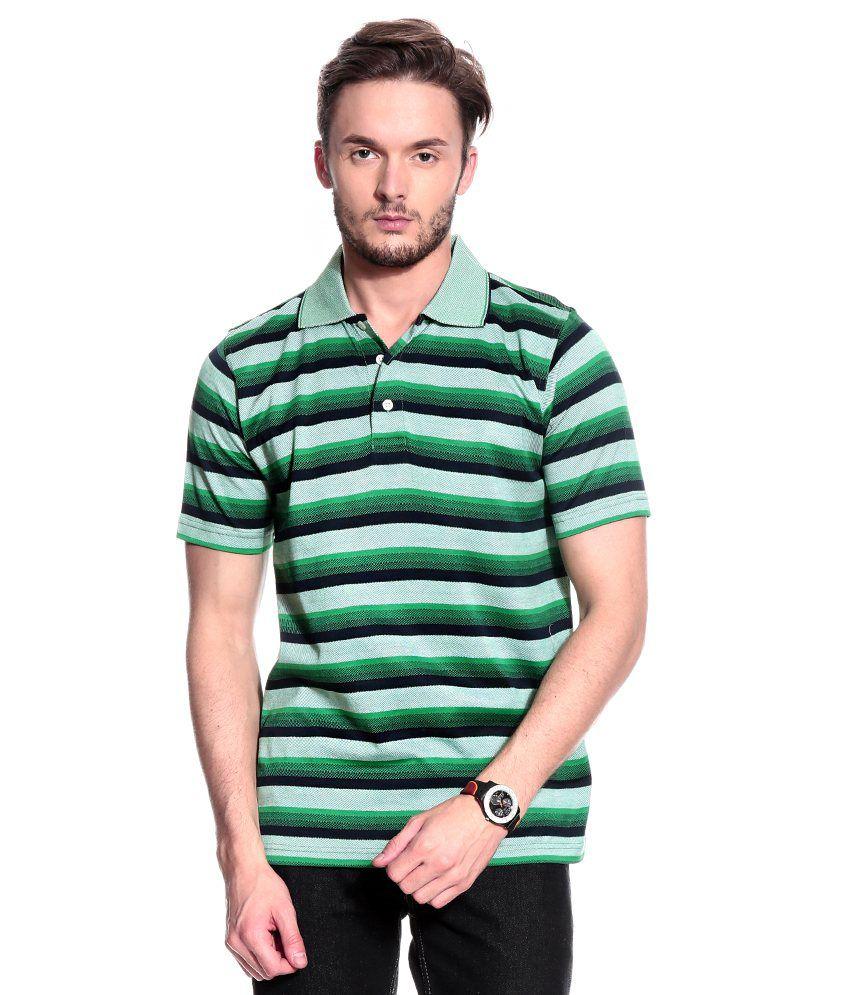 T10 Sports Green Half  Polo T-Shirt
