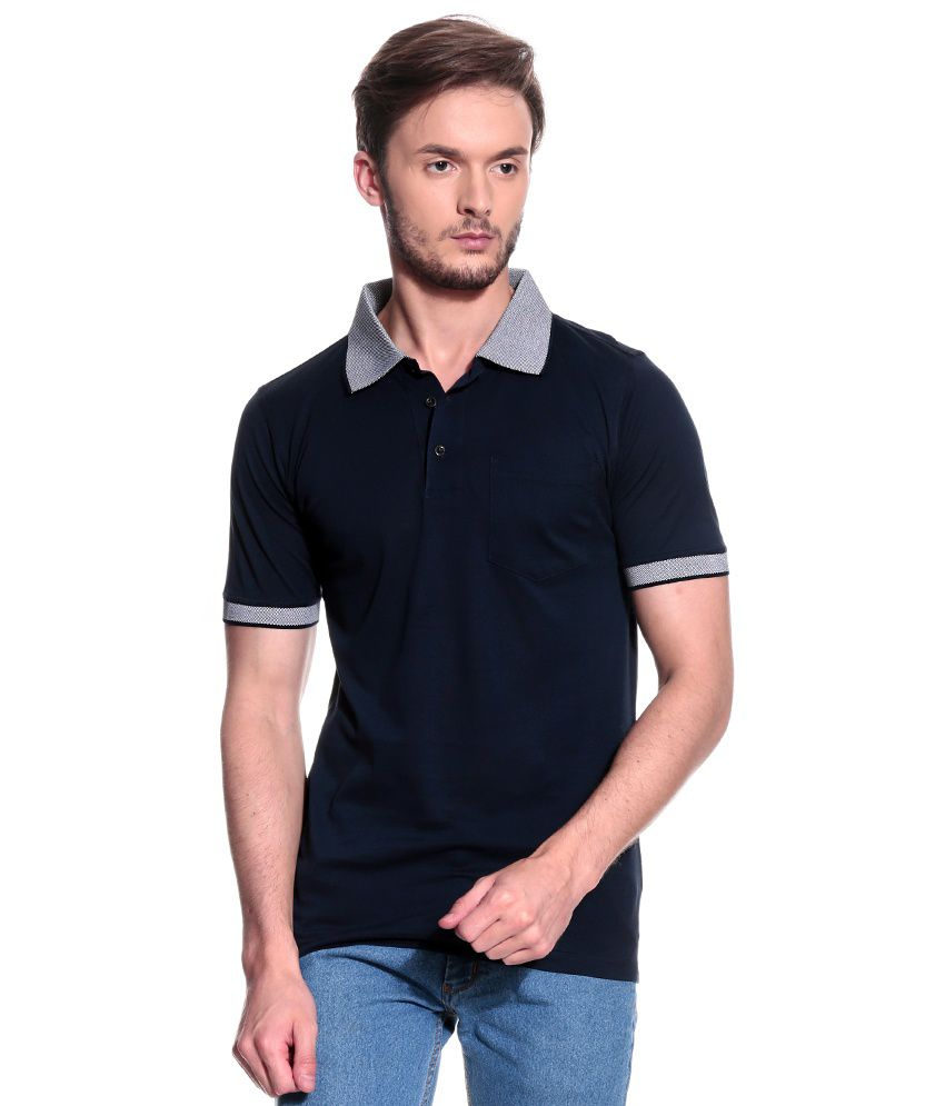T10 Sports Navy Half  Polo T-Shirt