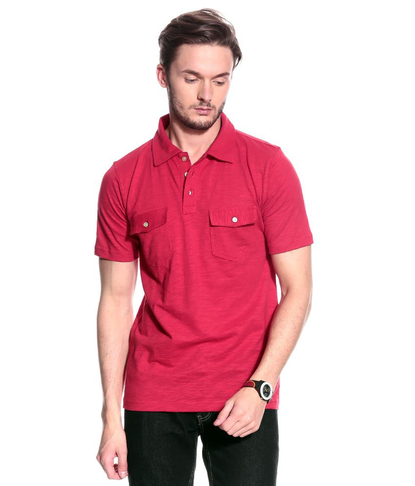 T10 Sports Red Half  Polo T-Shirt