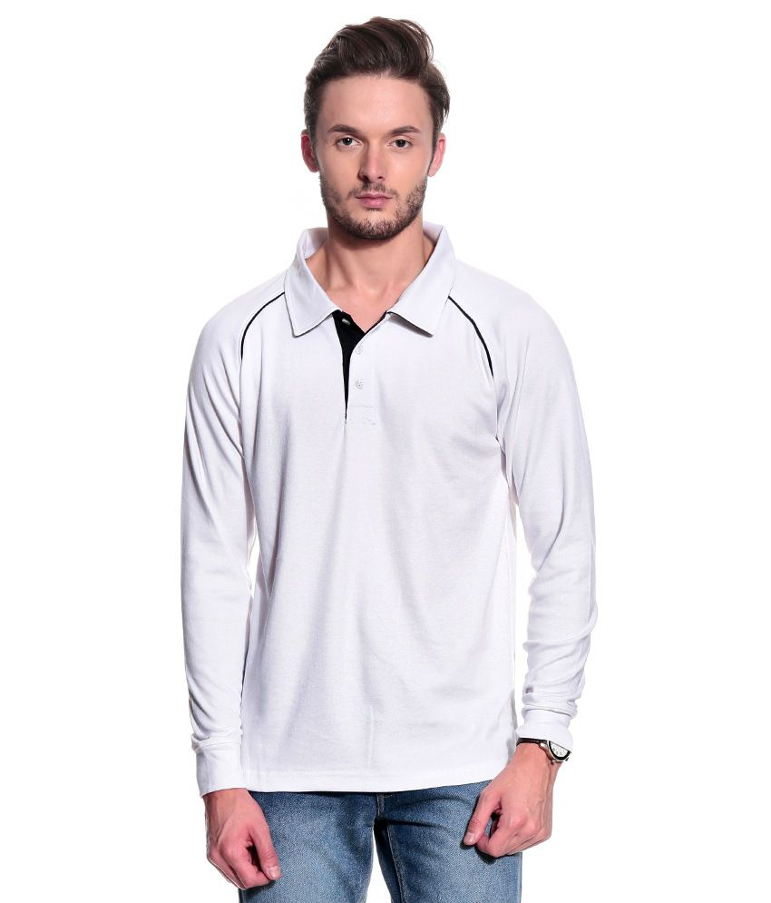 T10 Sports White Cotton Polo T-Shirt