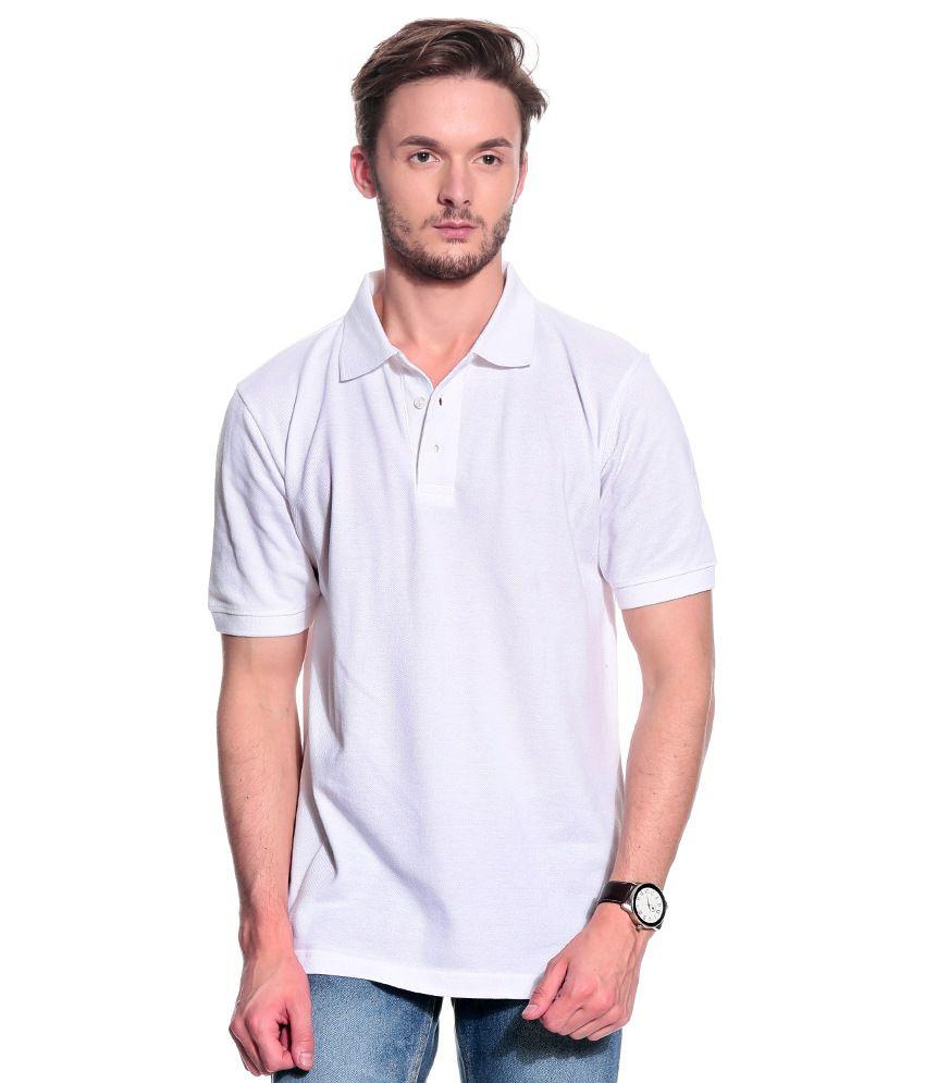 T10 Sports White Cotton Polo T-Shirt