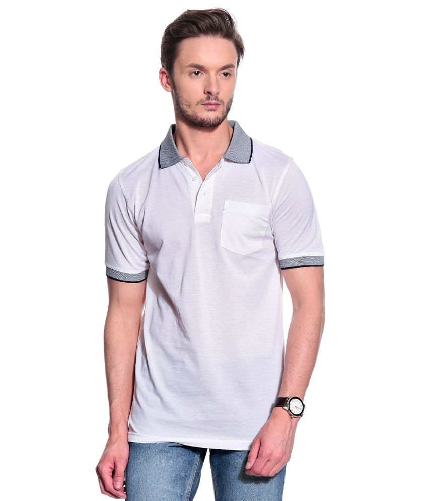 T10 Sports White Half  Polo T-Shirt