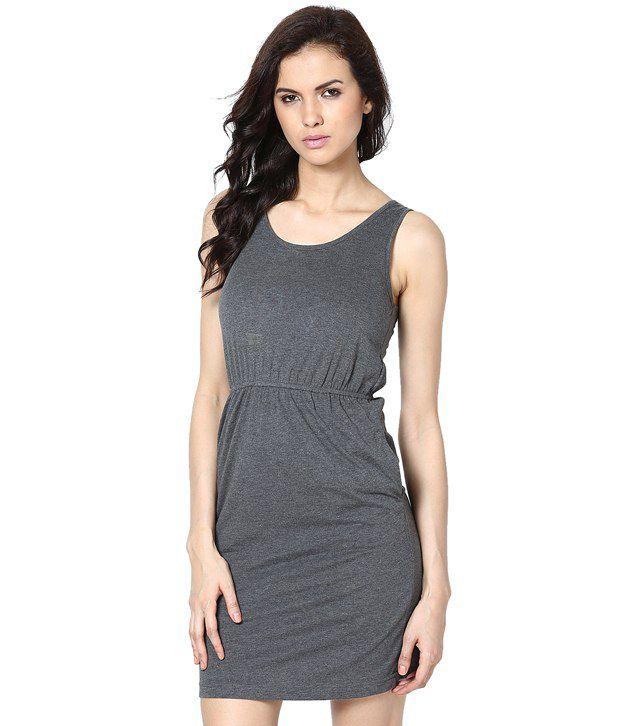 Femella Gray Poly Cotton Dresses