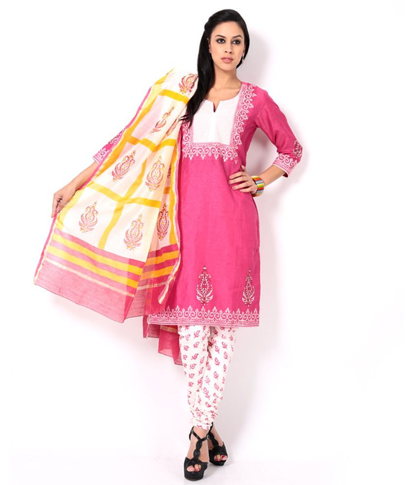 Ruhaniyat by Gunjan Pink Printed Chanderi Stitched Straight fit Salwar Suit