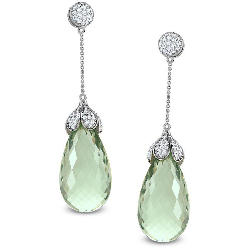 Diamond Green Amethyst Drop Earring by Caratlane