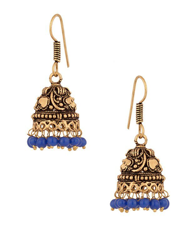 Voylla Antique Jhumki earrings with royal blue drops.
