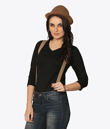 cc9f72796 Quick View. Miss Chase Black Cotton T-shirts For Women Quarter Sleeve V Neck  Casual Wear