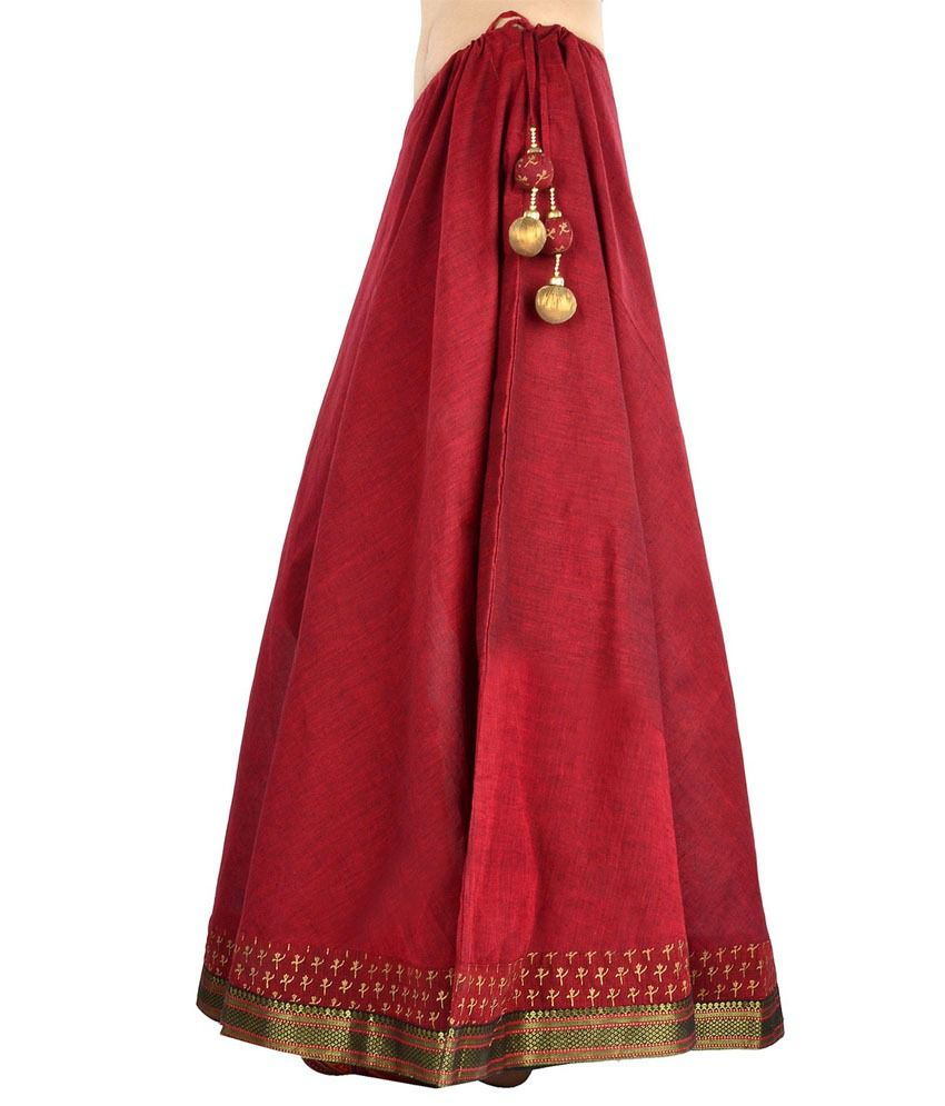 Buy 9Rasa Maroon Cotton Skirts Online at Best Prices in India ...