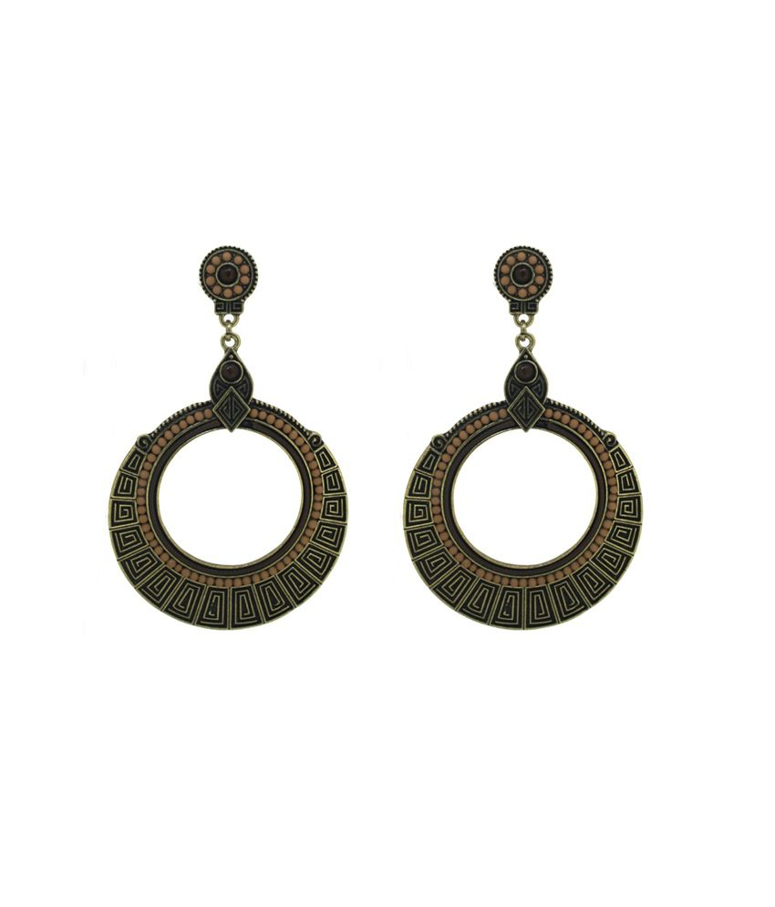 circuzz ethnic black brown circular earrings buy