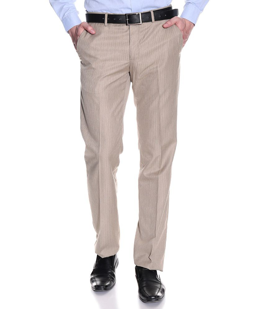 Excalibur Beige Regular Formals Flat Trousers & Chinos