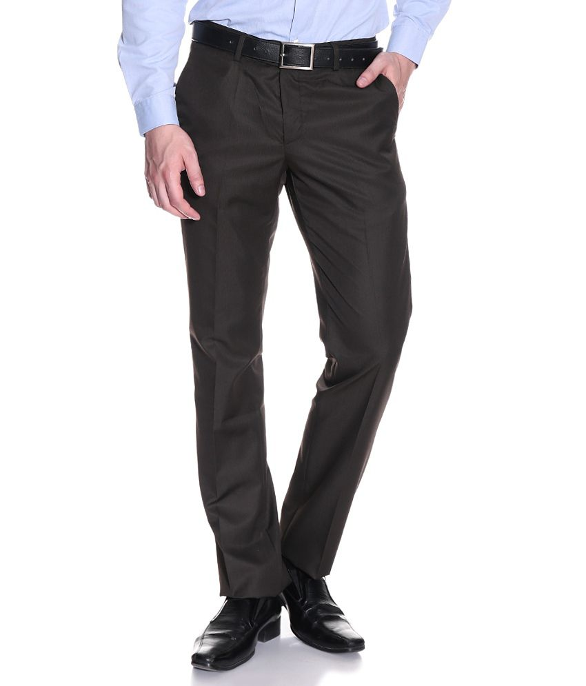 Excalibur Brown Regular Formals Flat Trousers & Chinos