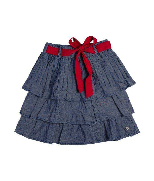 FS Mini Klub LT Blue Chambray Layered Skirt with Pintucks For Kids