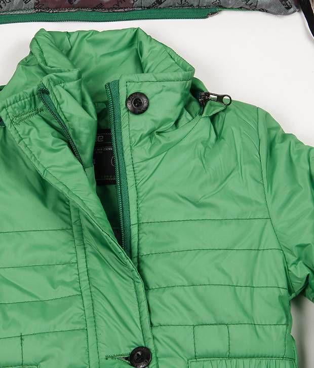 Okane Exclusive Green Hooded Jacket For Kids