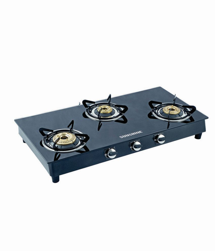 Sunshine Alfa Ms 3 Burner Toughened Glass Gas Cooktop