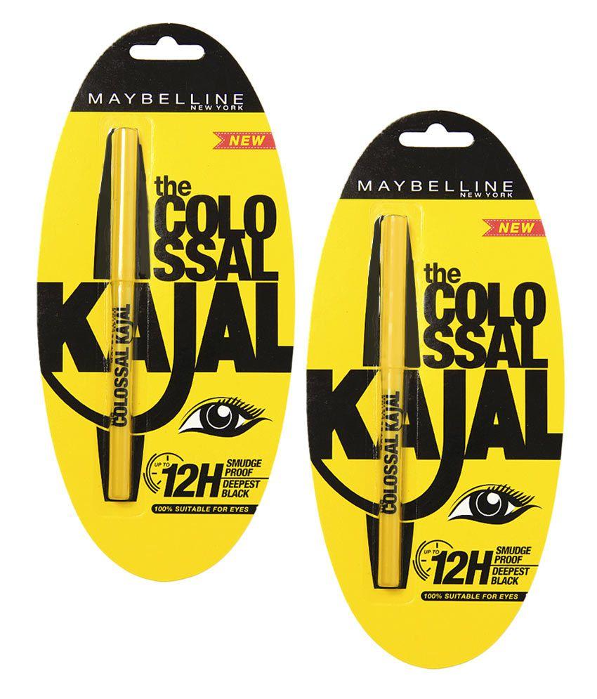 Maybelline Colossal Kajal 12H Black (0.35 gm) - Pack Of 2